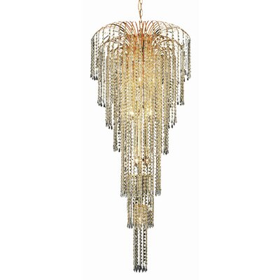 Falls 11-Light Crystal Chandelier Finish: Gold, Crystal Trim: Chrome / Royal Cut