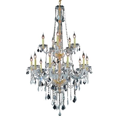 Petties 15-Light Crystal Chandelier Color: Gold, Crystal Grade: Swarovski Strass
