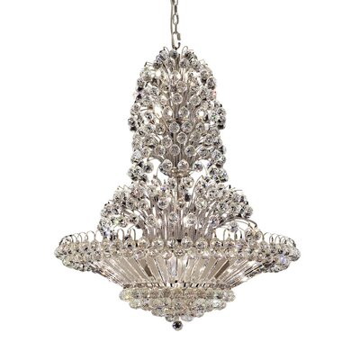 Maud 33-Light Crystal Chandelier Finish: Chrome, Crystal Grade: Elegant-Cut