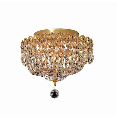 Century 4-Light 12 Flush Mount Finish: Gold, Crystal Grade: Royal Cut