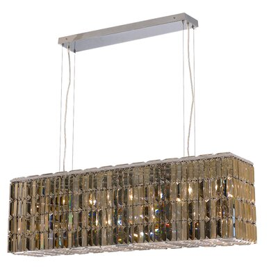 Langer 8-Light Kitchen Island Pendant Finish: Golden Teak, Crystal: Swarovski Strass