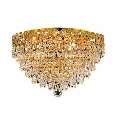 Lorna 4-Light 16 Flush Mount Finish: Gold, Crystal Grade: Elegant Cut
