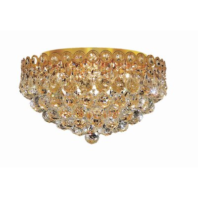 Lorna Glam 4-Light 16 Flush Mount Finish: Gold, Crystal Grade: Royal Cut