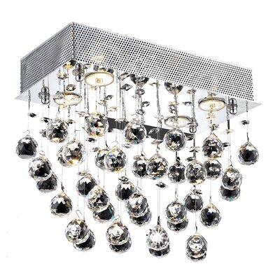 Deidamia 6-Light LED Ceiling or Semi Flush Mount Crystal Grade: Elegant Cut