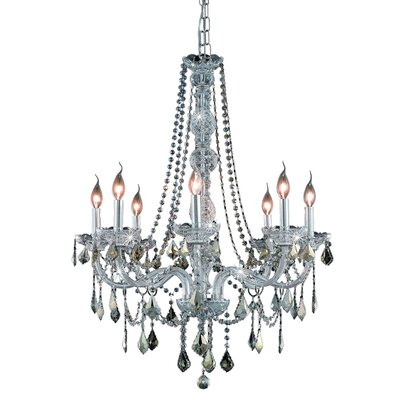 Petties 8-Light Crystal Chandelier Color: Chrome/Golden Teak, Crystal Grade: Swarovski Strass