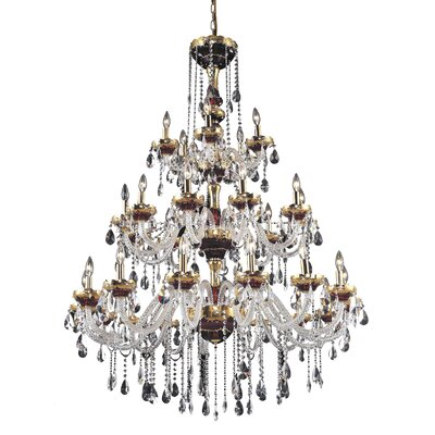 Schroeppel Traditional 30-Light Crystal Chandelier Finish: Green, Crystal Trim: Elegant Cut