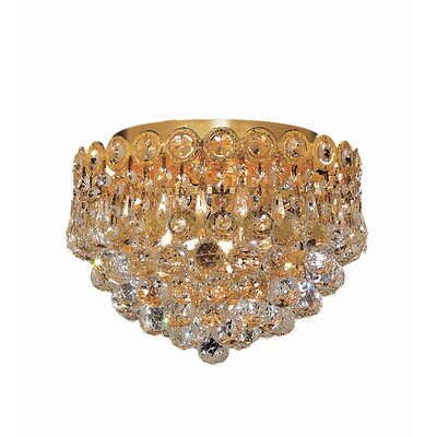 Lorna Glam 3-Light Flush Mount Finish: Gold, Crystal Grade: Elegant Cut