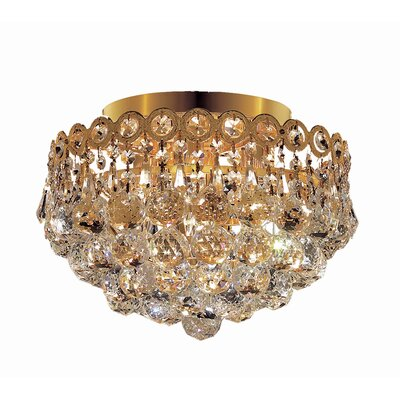 Lorna 4-Light 12 Flush Mount Finish: Gold, Crystal Grade: Royal Cut