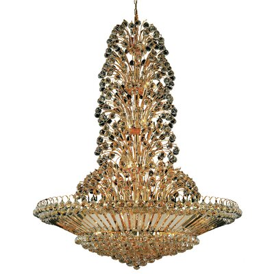 Maud 43-Light Crystal Chandelier Finish: Gold, Crystal Trim: Chrome / Royal Cut