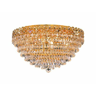 Lorna Glam 9-Light Flush Mount Finish: Gold, Crystal Grade: Strass Swarovski