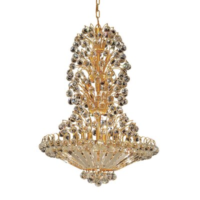 Sirius 14-Light Crystal Chandelier Finish: Gold, Crystal Trim: Chrome / Royal Cut