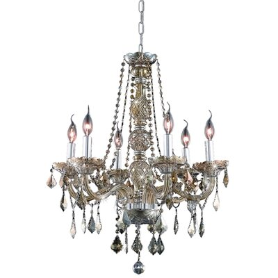 Petties 6-Light Crystal Chandelier Finish: Golden Teak, Crystal Grade: Egyptian