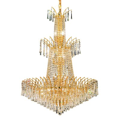 Phyllida 18-Light Chain Crystal Chandelier Finish: Gold, Crystal Trim: Elegant Cut