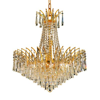 Victoria 11-Light Empire Chandelier Finish: Gold, Crystal Trim: Elegant Cut