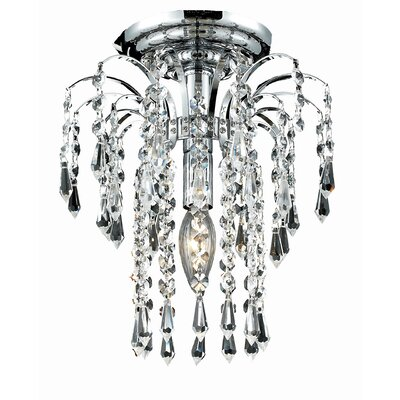 Westrem 1-Light Semi Flush Mount Finish: Gold, Crystal Grade: Chrome / Elegant Cut