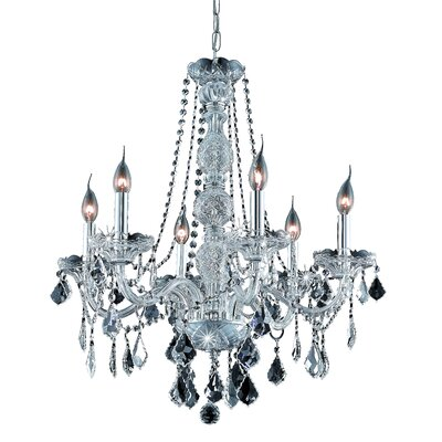 Petties 6-Light Crystal Chandelier Finish: Chrome, Crystal Grade: Swarovski Strass