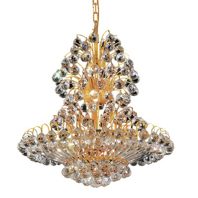 Maud 14-Light Chain Crystal Chandelier Finish: Gold, Crystal Trim: Chrome / Elegant Cut