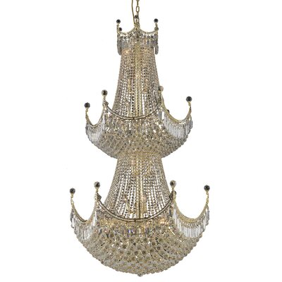Kasha 36-Light Crystal Chandelier Finish: Gold, Crystal Trim: Spectra Swarovski