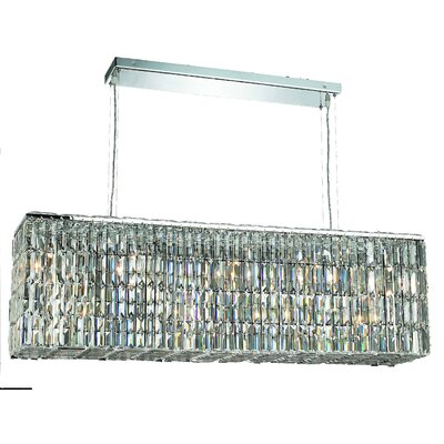 Bratton 8-Light Kitchen Island Pendant Size / Crystal Color / Crystal Trim: 44 / Golden Teak (Smoky) / Royal Cut