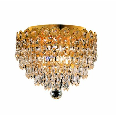 Lorna 3-Light Flush Mount Finish: Gold, Crystal Grade: Royal Cut