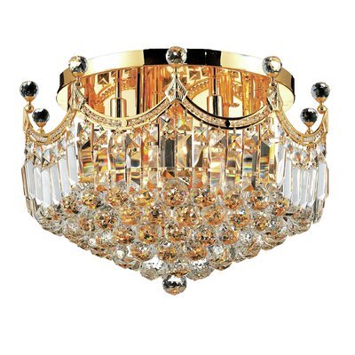 Kasha 9-Light Flush Mount Finish: Gold, Crystal Grade: Strass Swarovski