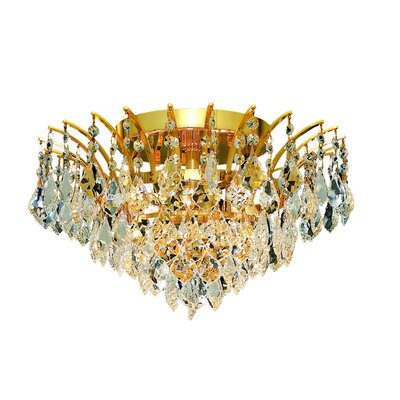 Phyllida 6-Light Semi Flush Mount Finish: Gold, Crystal Grade: Strass Swarovski