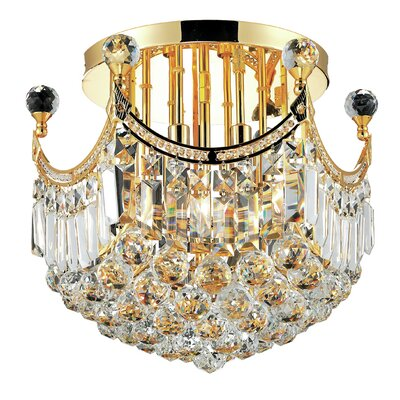 Corona 6-Light Semi Flush Mount Finish: Gold, Crystal Grade: Royal Cut