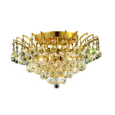 Victoria 6-Light Semi Flush Mount Finish: Chrome, Crystal Grade: Elegant Cut