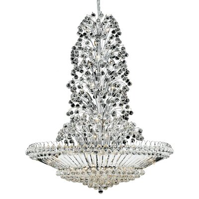 Maud 43-Light Crystal Chandelier Finish: Chrome, Crystal Grade: Elegant-Cut