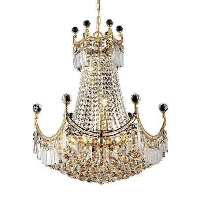 Kasha 9-Light Empire Chandelier Finish: Gold, Crystal Trim: Elegant Cut