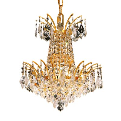 Phyllida 4-Light Empire Chandelier Finish: Gold, Crystal Trim: Elegant Cut