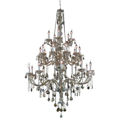 Petties 25-Light Crystal Chandelier Finish: Golden Teak, Crystal Grade: Swarovski Strass