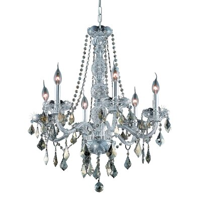 Abram 6-Light Crystal Chandelier Finish: Gold, Crystal Color: Crystal (Clear), Crystal Grade: Strass Swarovski