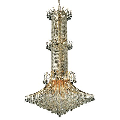 Toureg 20-Light Crystal Chandelier Finish: Gold, Crystal Trim: Royal Cut