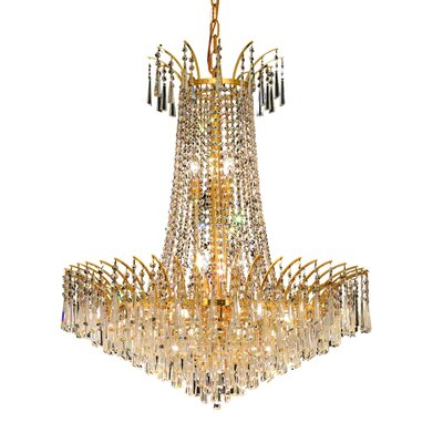 Phyllida 16-Light Glass Empire Chandelier Finish: Gold, Crystal Trim: Elegant Cut