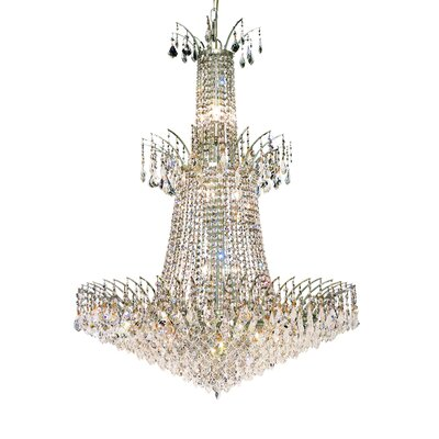 Victoria 18-Light Crystal Chandelier Finish: Chrome, Crystal Trim: Elegant Cut