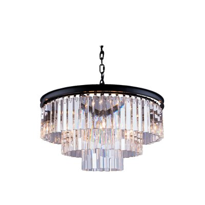 Lavinia 9-Light Drum Pendant Crystal: Golden Teak (Smoky), Finish: Mocha Brown