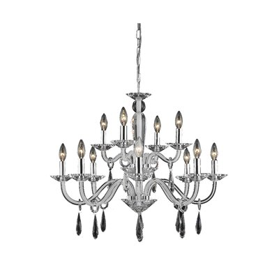 Halton 12-Light Candle-Style Chandelier Finish: White, Crystal Trim: Elegant Cut