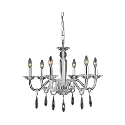 Avalon 6-Light Candle-Style Chandelier Finish: Black, Crystal Trim: Strass Swarovski