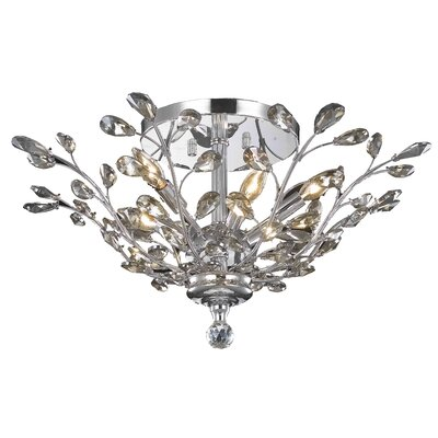 Giovanni Contemporary 6-Light Flush Mount Crystal Grade: Elegant Cut