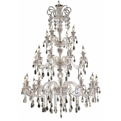 Baxley 24-Light Crystal Chandelier Finish: Chrome, Crystal Trim: Elegant Cut