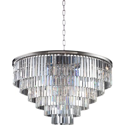 Lavinia 10-Light Drum Crystal Pendant Finish: Polished Nickel, Crystal: Golden Teak (Smoky)