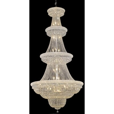 Jessenia 42-Light Crystal Chandelier Finish: Chrome, Crystal Grade: Royal Cut