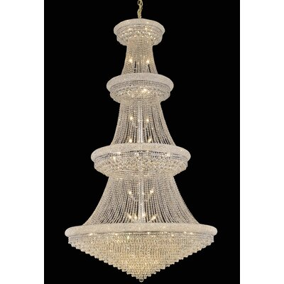 Jessenia 48-Light Chain Crystal Chandelier with Canopy Finish: Chrome, Crystal Grade: Royal Cut