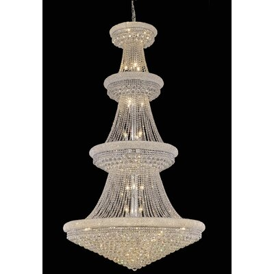 Jessenia 42-Light Chain Crystal Chandelier with Canopy Finish: Chrome, Crystal Grade: Swarovski Elements