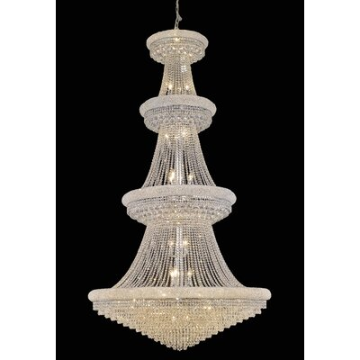Jessenia 42-Light Chain Crystal Chandelier Finish: Chrome, Crystal Grade: Royal Cut