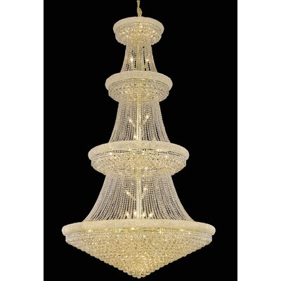 Jessenia 48-Light Chain Crystal Chandelier Finish: Gold, Crystal Grade: Royal Cut