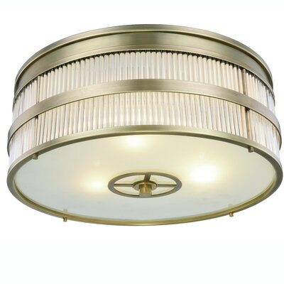 Lev Transitional 3-Light Flush Mount Finish: Burnished Brass