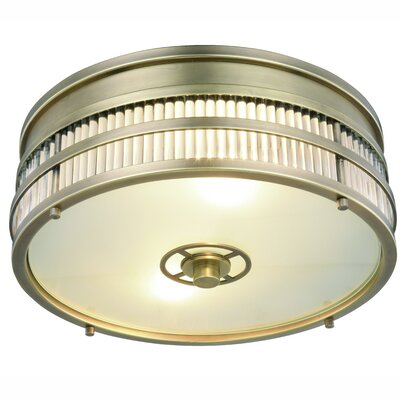 Lev 2-Light Flush Mount Finish: Burnished Brass