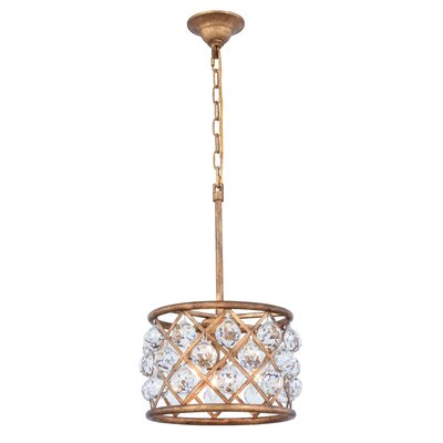 Morion 3-Light Drum Pendant Crystal Color: Clear